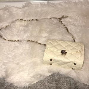 Handbags - Quilted pattern off white cross body gold chain